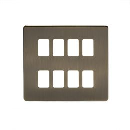 8 gang grid switch Plate Antique Brass