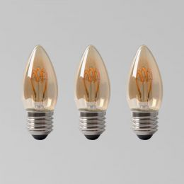 3 Pack - 2w E27 ES Vintage Edison Candle LED Light Bulb 1800K T-Spiral Filament Dimmable