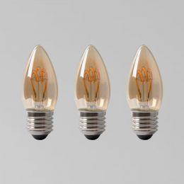 3 Pack - 2w E27 ES Vintage Edison Candle LED Light Bulb 1800K T-Spiral Filament Dimmable