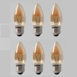 6 Pack - 2w E27 ES Vintage Edison Candle LED Light Bulb 1800K T-Spiral Filament Dimmable