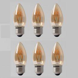 6 Pack - 2w E27 ES Vintage Edison Candle LED Light Bulb 1800K T-Spiral Filament Dimmable
