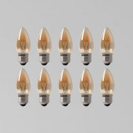 10 Pack - 2w E27 ES Vintage Edison Candle LED Light Bulb 1800K T-Spiral Filament Dimmable