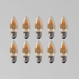 10 Pack - 2w E27 ES Vintage Edison Candle LED Light Bulb 1800K T-Spiral Filament Dimmable
