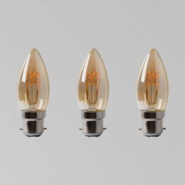 3 Pack - 2w B22 Vintage Edison Candle LED Light Bulb 1800K T-Spiral Filament Dimmable
