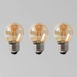 3 Pack - 2w E27 ES Vintage Edison Golf Ball LED Light Bulb 1800K T-Spiral Filament Dimmable