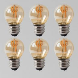 6 Pack - 2w E27 ES Vintage Edison Golf Ball LED Light Bulb 1800K T-Spiral Filament Dimmable