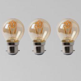 3 Pack - 2w B22 Vintage Edison Golf Ball LED Light Bulb 1800K T-Spiral Filament Dimmable