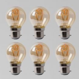 6 Pack - 2w B22 Vintage Edison Golf Ball LED Light Bulb 1800K T-Spiral Filament Dimmable