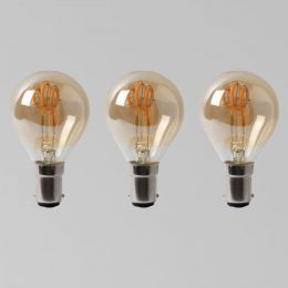 3 Pack - 2w B15 Vintage Edison Golf Ball LED Light Bulb 1800K T-Spiral Filament Dimmable