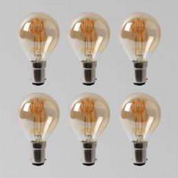 6 Pack - 2w B15 Vintage Edison Golf Ball LED Light Bulb 1800K T-Spiral Filament Dimmable