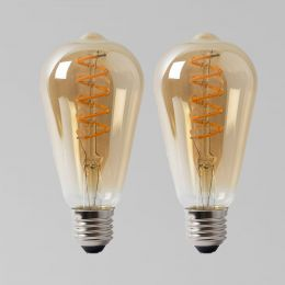 2 Pack - 4w E27 ES Vintage Edison ST64 LED Light Bulb 1800K Spiral Filament Teardrop Dimmable