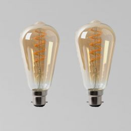 2 Pack - 4w B22 Vintage Edison ST64 LED Light Bulb 1800K Spiral Filament Teardrop Dimmable