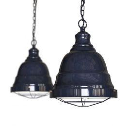 Ganton Vintage Cage Pendant Light Squid Ink Blue