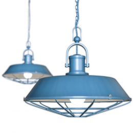 Blue Industrial Pendant Light