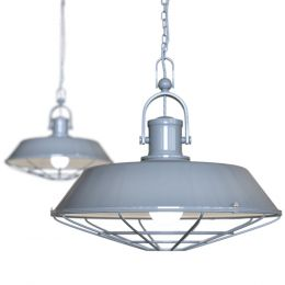 Brewer Cage Industrial  Pendant Light French Grey
