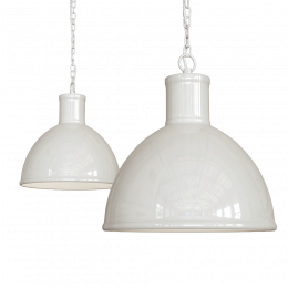 Wardour Industrial Bay Pendant Light Clay White