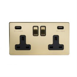 Brushed brass 2 gang usb socket