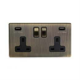 Antique Brass 2 gang usb socket screwless
