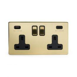 Brushed Brass USB C Socket