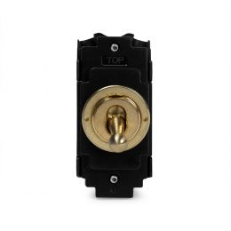 Soho Lighting Brushed Brass Double Pole Toggle Grid Module  Screwless