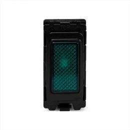 Soho Lighting Brushed Chrome Green Indicator Grid Switch Module