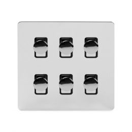 Soho Lighting Polished Chrome Flat Plate 6 Gang 2 Way Intelligent Trailing Dimmer Switch Screwless 400W