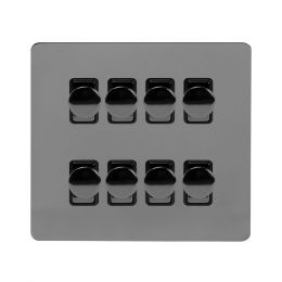 Soho Lighting Black Nickel Flat Plate 8 Gang 2 Way Intelligent Trailing Dimmer Switch Screwless 400W