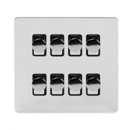 Soho Lighting Polished Chrome Flat Plate 8 Gang 2 Way Intelligent Trailing Dimmer Switch Screwless 400W