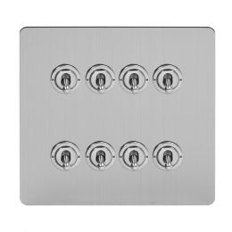 Soho Lighting Brushed Chrome Flat Plate 8 Gang Toggle Light Switch 20A 2 Way Screwless