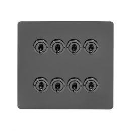 Soho Lighting Black Nickel Flat Plate 8 Gang Toggle Light Switch 20A 2 Way Screwless