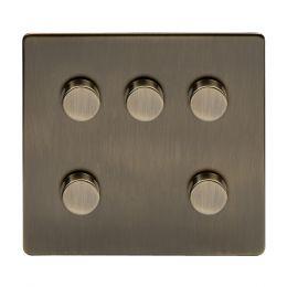Soho Lighting Antique Brass 5 Gang Dimmer Switch 150W LED Trailing Edge Dimmer Screwless