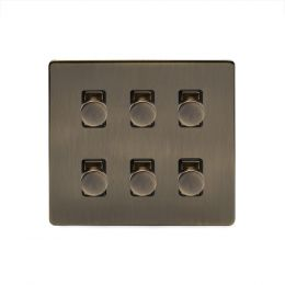 Soho Lighting Antique Brass 6 Gang 2 Way Intelligent Trailing Dimmer Switch Screwless