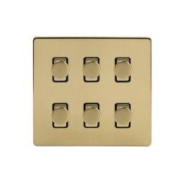 Soho Lighting Brushed Brass 6 Gang 2 Way Intelligent Trailing Dimmer Switch Screwless