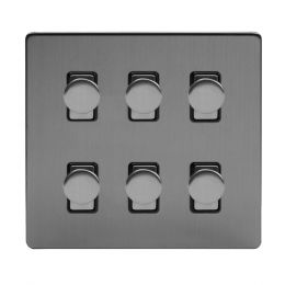 Soho Lighting Brushed Chrome 6 Gang 2 Way Intelligent Trailing Dimmer Switch Screwless