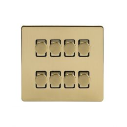 Soho Lighting Brushed Brass 8 Gang 2 Way Intelligent Trailing Dimmer Switch Screwless