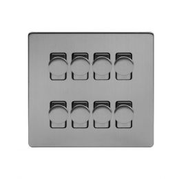 Soho Lighting Brushed Chrome 8 Gang 2 Way Intelligent Trailing Dimmer Switch Screwless