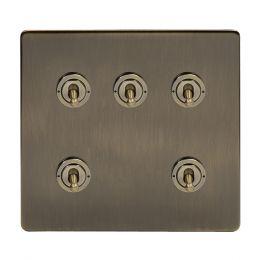 Soho Lighting Antique Brass 5 Gang Toggle Light Switch 20A 2 Way Screwless