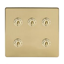 Soho Lighting Brushed Brass 5 Gang Toggle Light Switch 20A 2 Way Screwless