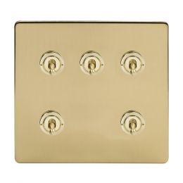 Soho Lighting Brushed Brass 5 Gang Toggle Light Switch 20A 2 Way Screwless