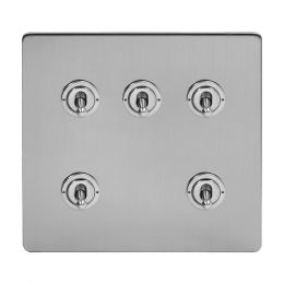 Soho Lighting Brushed Chrome 5 Gang Toggle Light Switch 20A 2 Way Screwless
