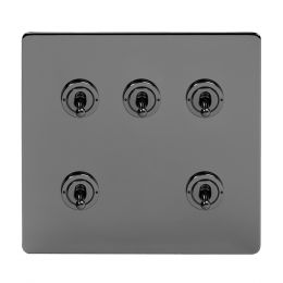 Soho Lighting Black Nickel 5 Gang Toggle Light Switch 20A 2 Way Screwless