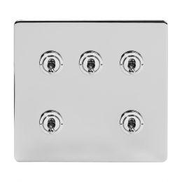 Soho Lighting Polished Chrome 5 Gang Toggle Light Switch 20A 2 Way Screwless