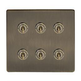 Soho Lighting Antique Brass 6 Gang Toggle Light Switch 20A 2 Way Screwless