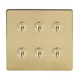 Soho Lighting Brushed Brass 6 Gang Toggle Light Switch 20A 2 Way Screwless