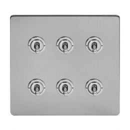 Soho Lighting Brushed Chrome 6 Gang Toggle Light Switch 20A 2 Way Screwless
