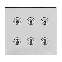 Soho Lighting Polished Chrome 6 Gang Toggle Light Switch 20A 2 Way Screwless