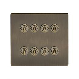 Soho Lighting Antique Brass 8 Gang Toggle Light Switch 20A 2 Way Screwless