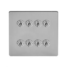 Soho Lighting Brushed Chrome 8 Gang Toggle Light Switch 20A 2 Way Screwless