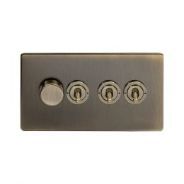 Soho Lighting Antique Brass 4 Gang Switch with 1 Dimmer (1x150W LED Dimmer 3x20A 2 Way Toggle)