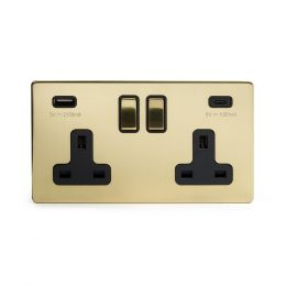 Soho Lighting Brushed Brass 2 Gang USB A+C Socket (13A Socket + 2 USB Ports A+C 3.1A) Blk Ins Screwless